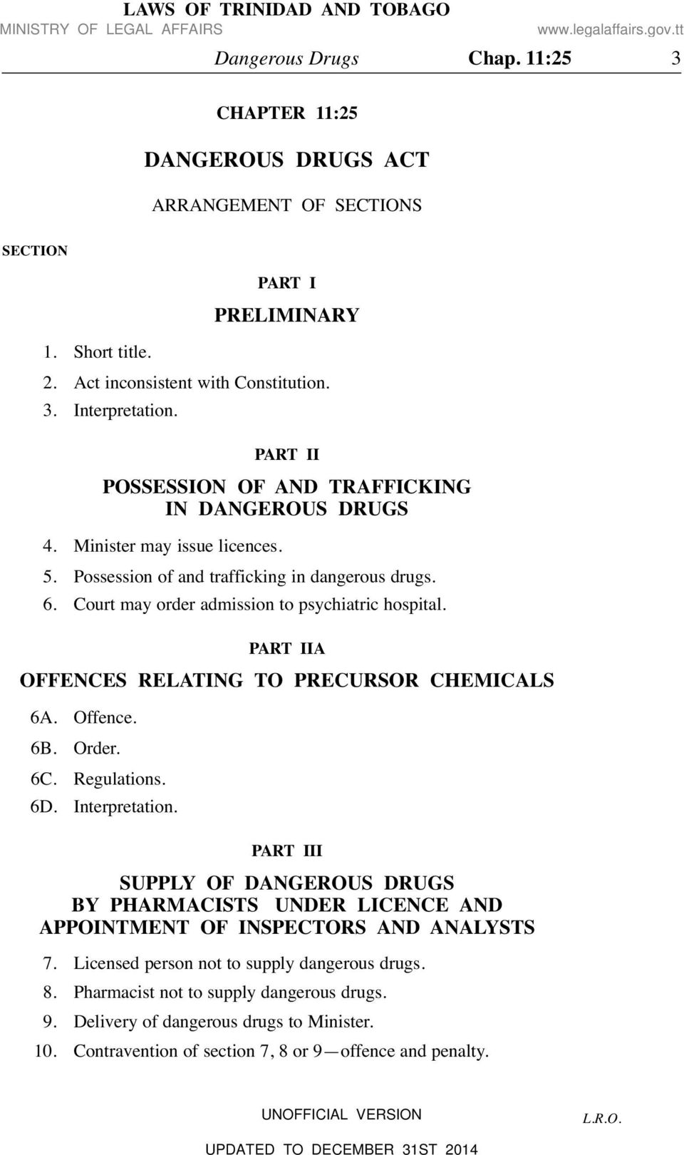 PART IIA OFFENCES RELATING TO PRECURSOR CHEMICALS 6A. Offence. 6B. Order. 6C. Regulations. 6D. Interpretation.
