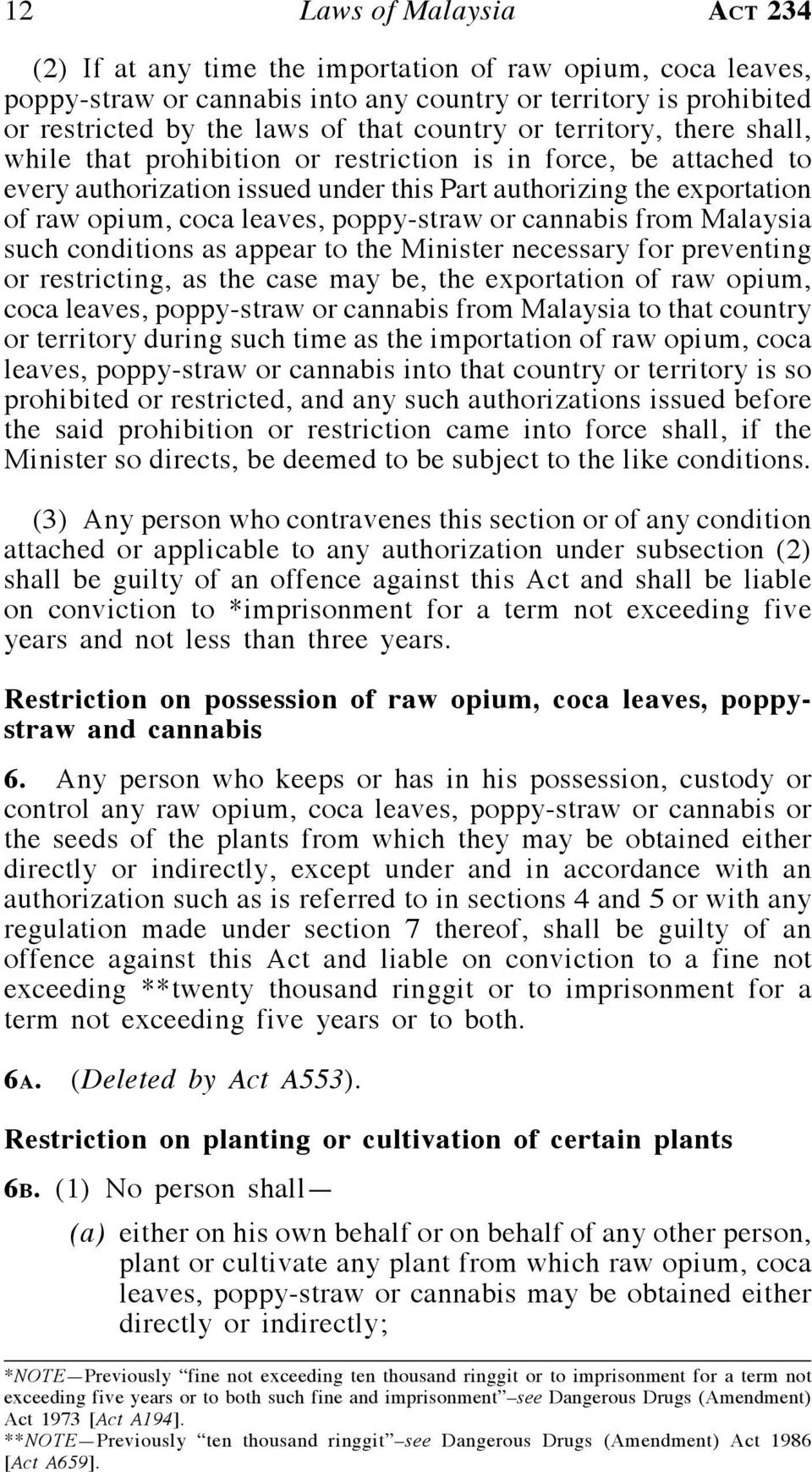 poppy-straw or cannabis from Malaysia such conditions as appear to the Minister necessary for preventing or restricting, as the case may be, the exportation of raw opium, coca leaves, poppy-straw or