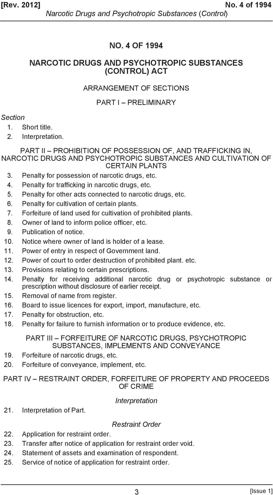 Penalty for possession of narcotic drugs, etc. 4. Penalty for trafficking in narcotic drugs, etc. 5. Penalty for other acts connected to narcotic drugs, etc. 6.