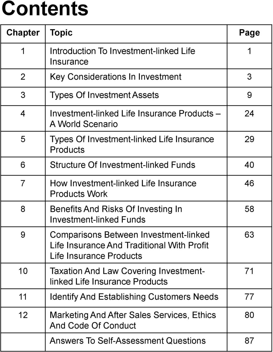 Investing In Investment-linked Funds 9 Comparisons Between Investment-linked Life Insurance And Traditional With Profit Life Insurance Products 10 Taxation And Law Covering Investmentlinked