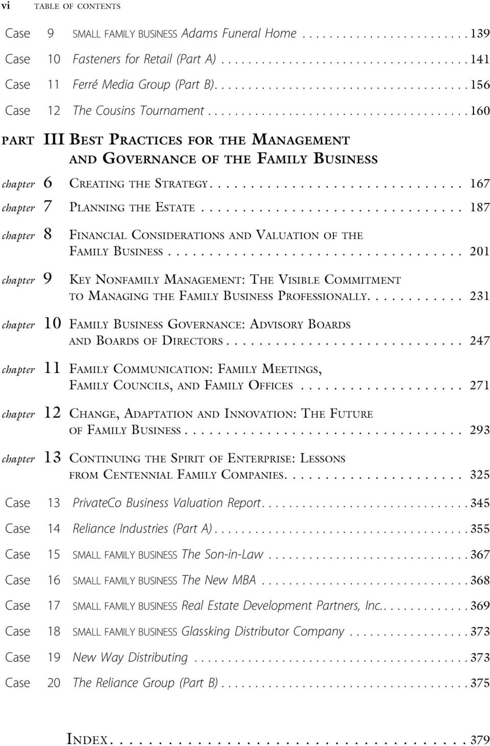 .. 187 chapter 8 FINANCIAL CONSIDERATIONS AND VALUATION OF THE FAMILY BUSINESS... 201 chapter 9 KEY NONFAMILY MANAGEMENT: THE VISIBLE COMMITMENT TO MANAGING THE FAMILY BUSINESS PROFESSIONALLY.