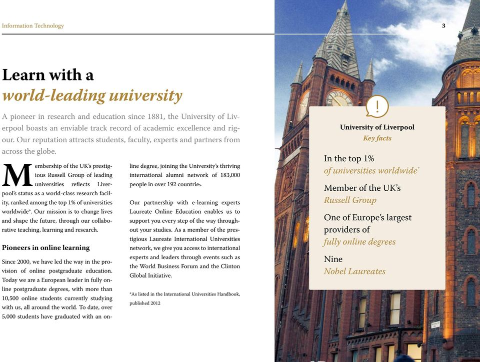 Membership of the UK s prestigious Russell Group of leading international alumni network of 183,000 line degree, joining the University s thriving universities reflects Liverpool s status as a