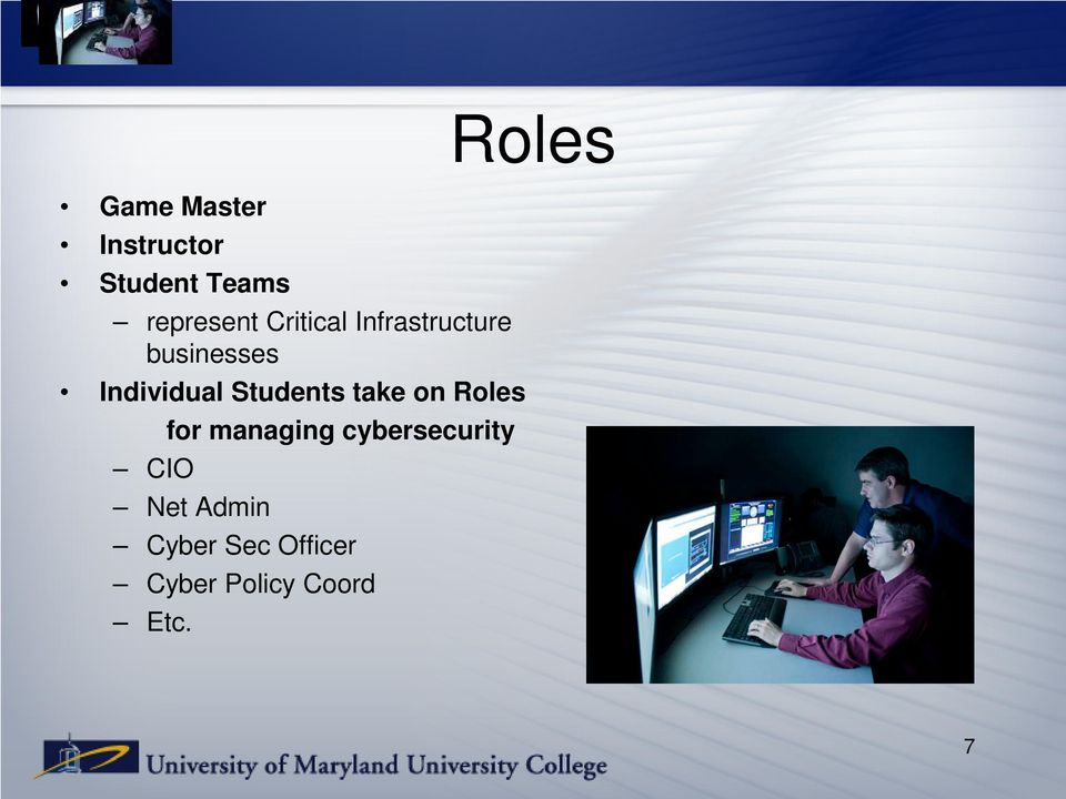 Students take on Roles for managing cybersecurity