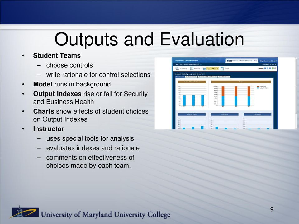 Charts show effects of student choices on Output Indexes Instructor uses special tools for