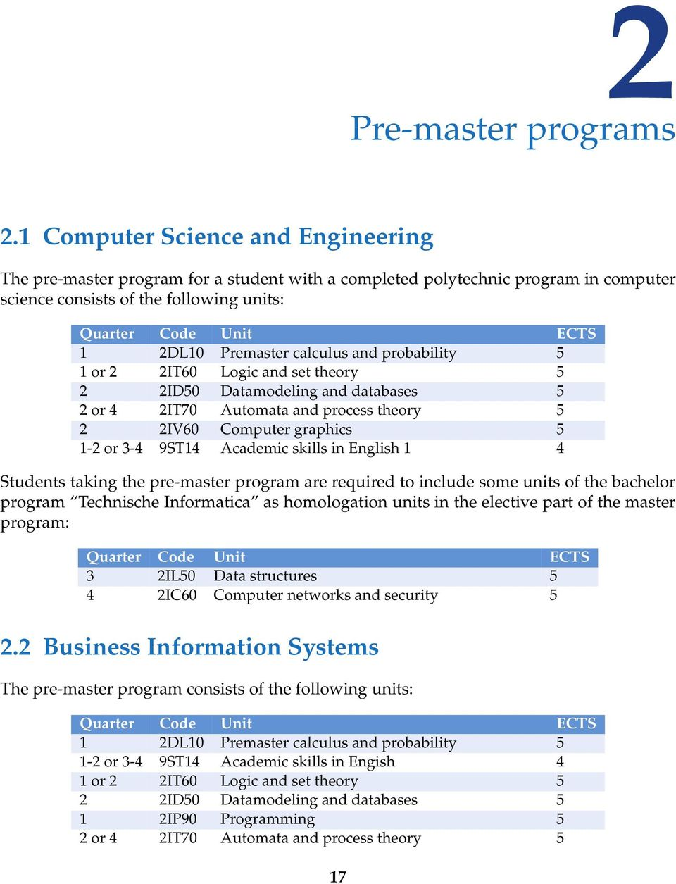 Premaster calculus and probability 5 1 or 2 2IT60 Logic and set theory 5 2 2ID50 Datamodeling and databases 5 2 or 4 2IT70 Automata and process theory 5 2 2IV60 Computer graphics 5 1-2 or 3-4 9ST14