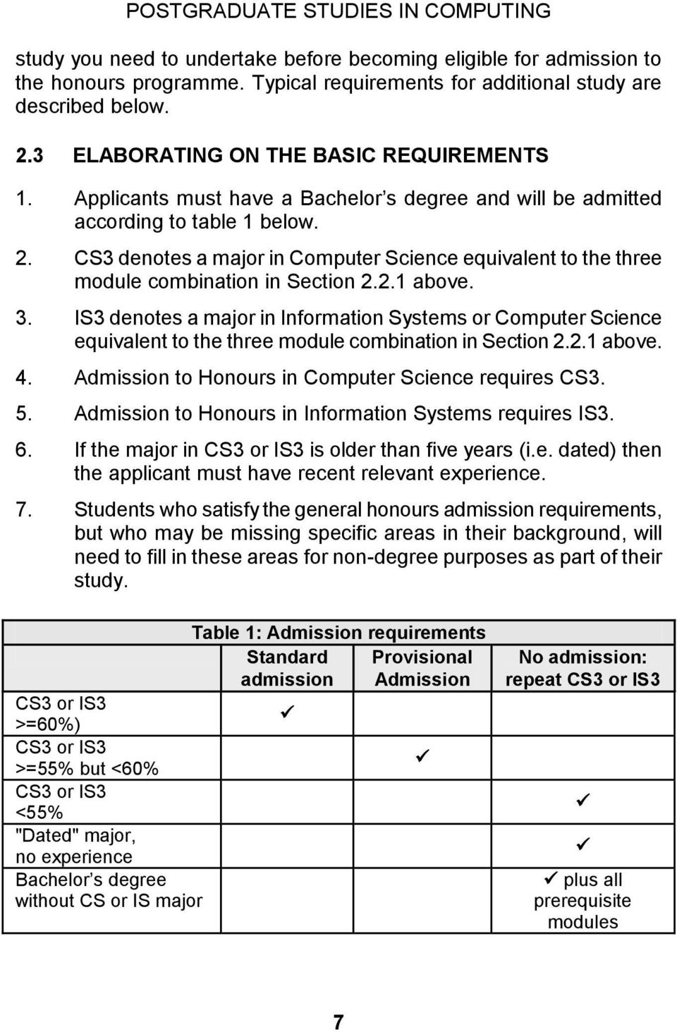 3. IS3 denotes a major in Information Systems or Computer Science equivalent to the three module combination in Section 2.2.1 above. 4. Admission to Honours in Computer Science requires CS3. 5.