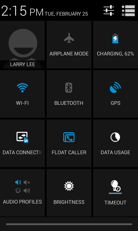 Tap to adjust commonly used settings Connection icons The icons on the right side indicate signal strength, connection, battery status and the time.