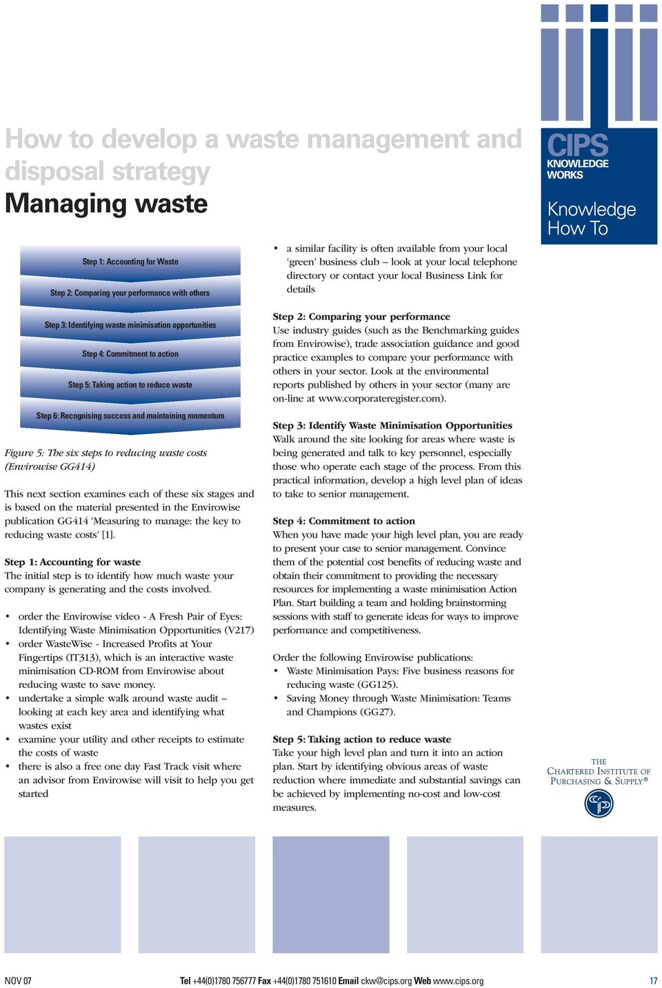 on the material presented in the Envirowise publication GG414 Measuring to manage: the key to reducing waste costs [1].