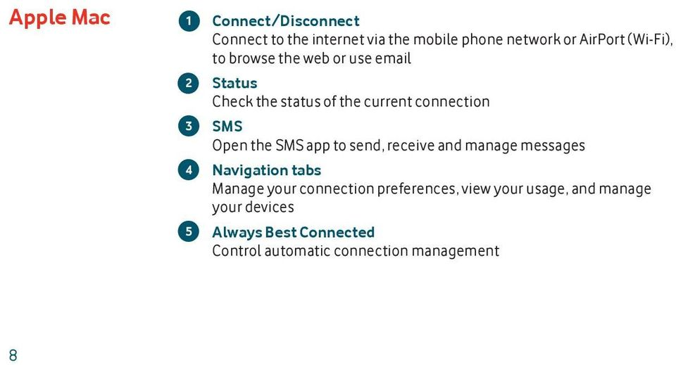 Open the SMS app to send, receive and manage messages Navigation tabs Manage your connection