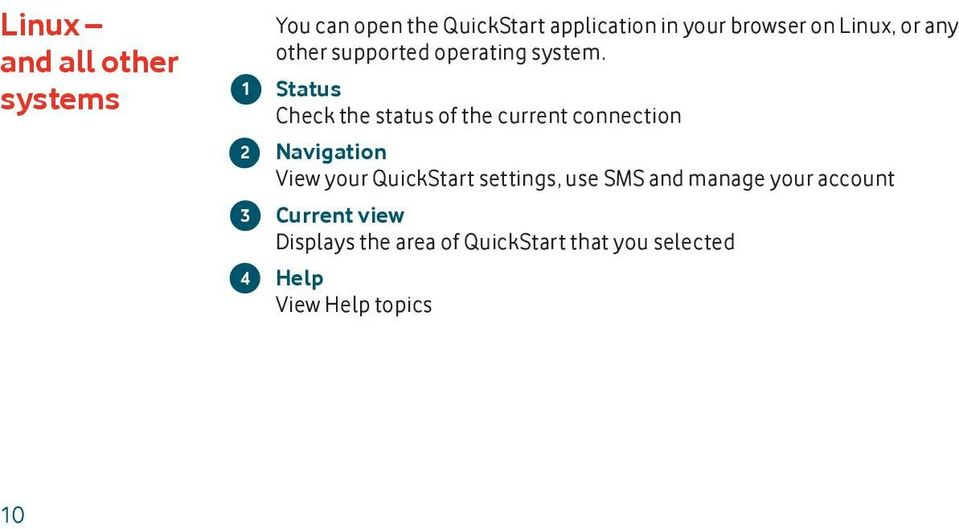 Status Check the status of the current connection Navigation View your QuickStart