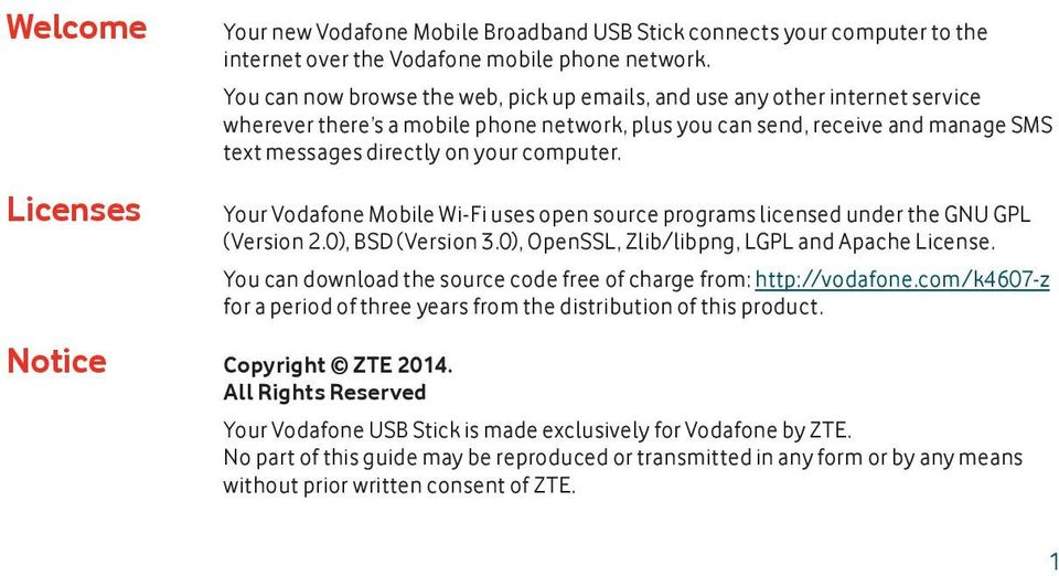 computer. Your Vodafone Mobile Wi-Fi uses open source programs licensed under the GNU GPL (Version 2.0), BSD (Version 3.0), OpenSSL, Zlib/libpng, LGPL and Apache License.