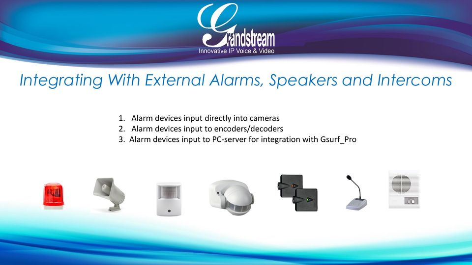 Alarm devices input directly into cameras 2.