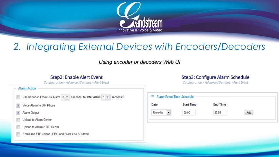 Configuration > Advanced Settings > Alert Event Step3: