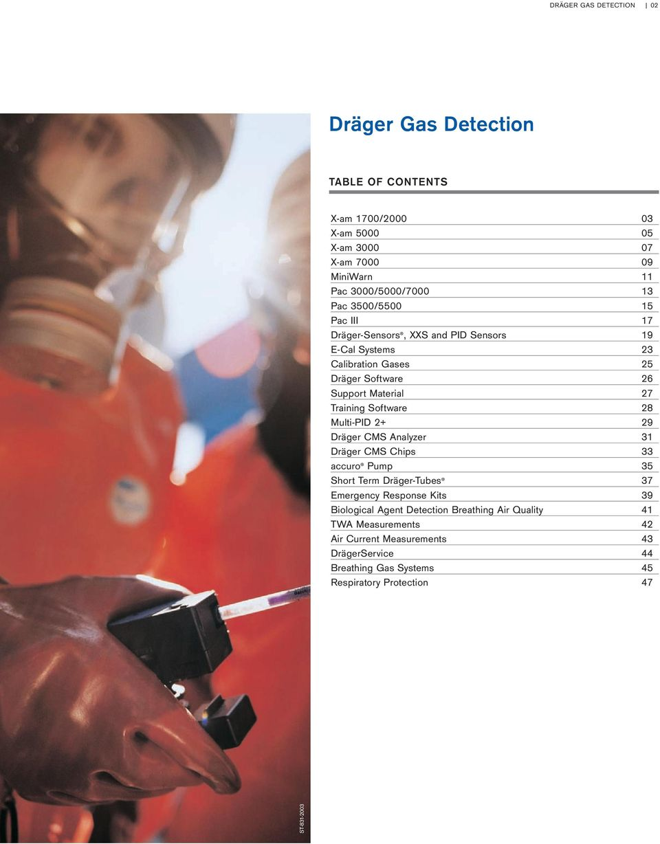 Software 28 Multi-PID 2+ 29 Dräger CMS Analyzer 31 Dräger CMS Chips 33 accuro Pump 35 Short Term Dräger-Tubes 37 Emergency Response Kits 39 Biological Agent