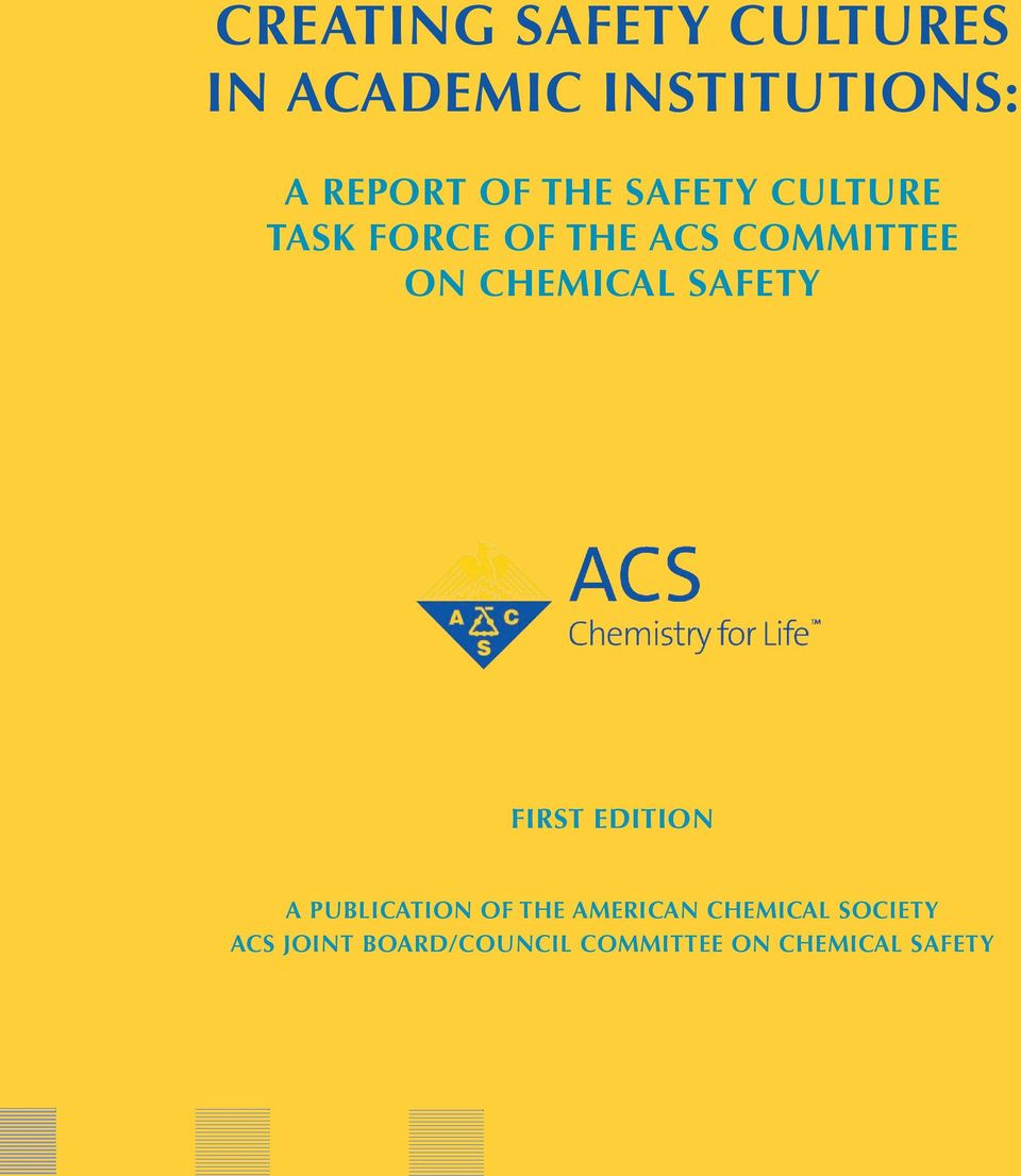 Chemical Safety First Edition A Publication of the American