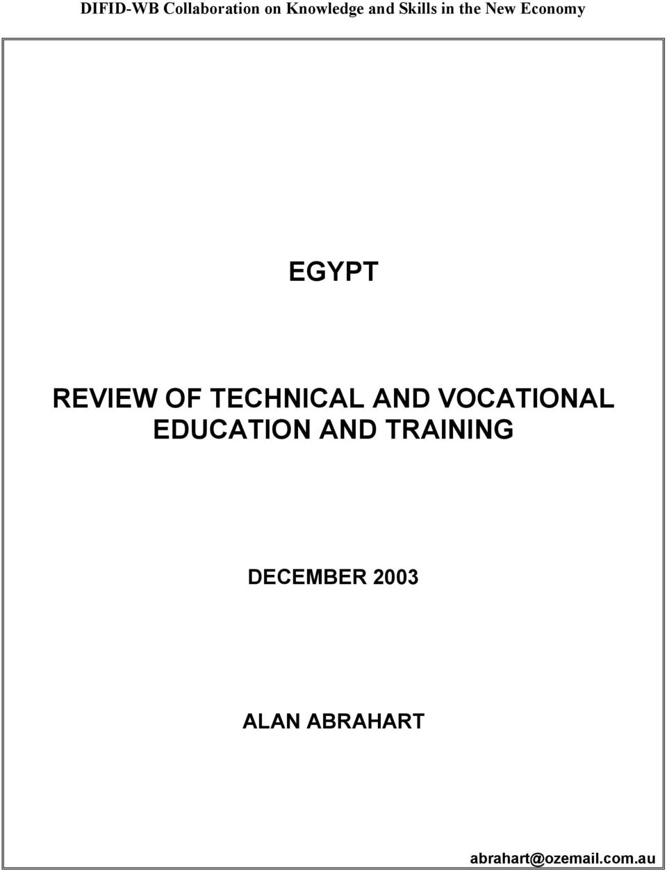 TECHNICAL AND VOCATIONAL EDUCATION AND
