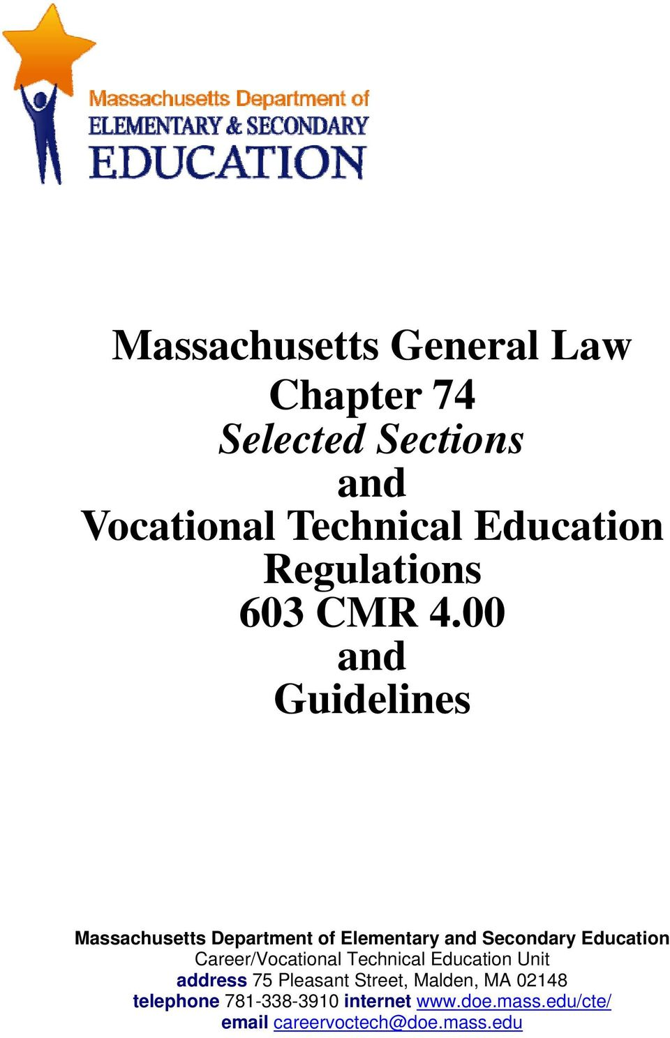 00 and Guidelines Massachusetts Department of Elementary and Secondary Education