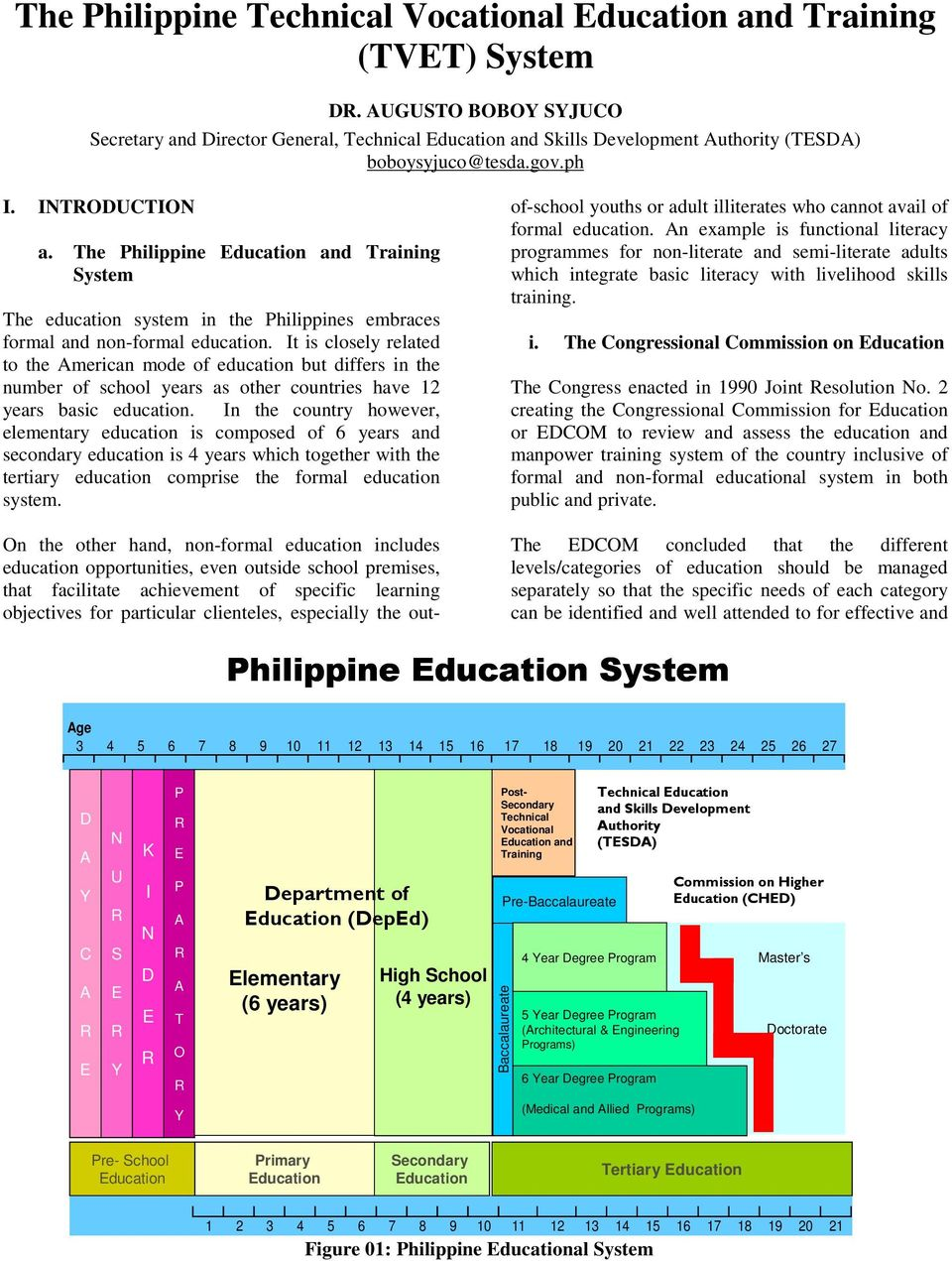 The Philippine Education and Training System The education system in the Philippines embraces formal and non-formal education.