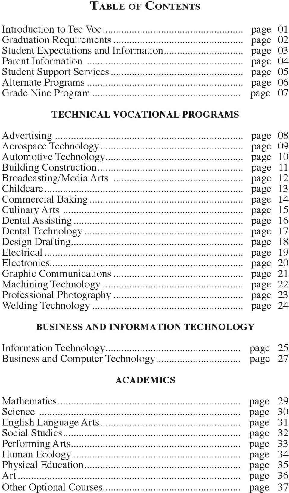 .. page 10 Building Construction... page 11 Broadcasting/Media Arts... page 12 Childcare... page 13 Commercial Baking... page 14 Culinary Arts... page 15 Dental Assisting... page 16 Dental Technology.