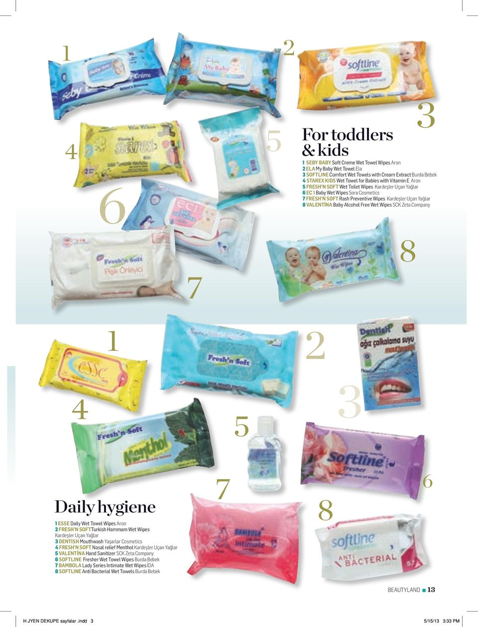 Wet Wipes SCK Zeta Company 8 7 1 2 4 5 3 Daily hygiene 1 ESSE Daily Wet Towel Wipes Aron 2 FRESH N SOFTTurkish Hammam Wet Wipes Kardeşler Uçan Yağlar 3 DENTISH Mouthwash Yaşarlar Cosmetics 4 FRESH N