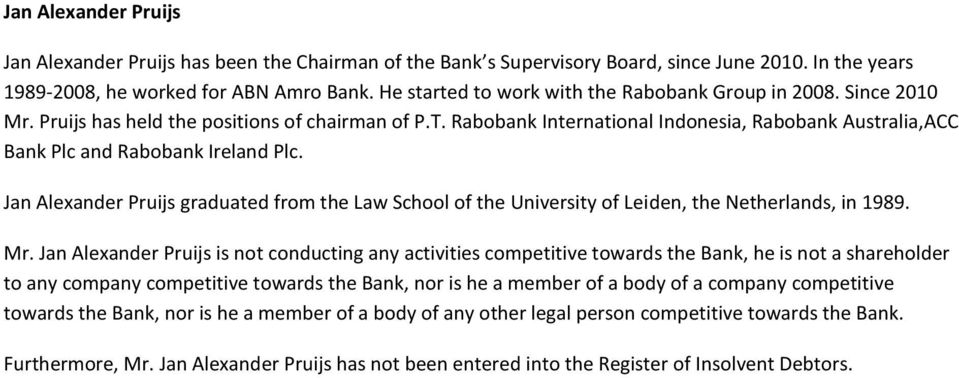 Rabobank International Indonesia, Rabobank Australia,ACC Bank Plc and Rabobank Ireland Plc. Jan Alexander Pruijs graduated from the Law School of the University of Leiden, the Netherlands, in 1989.