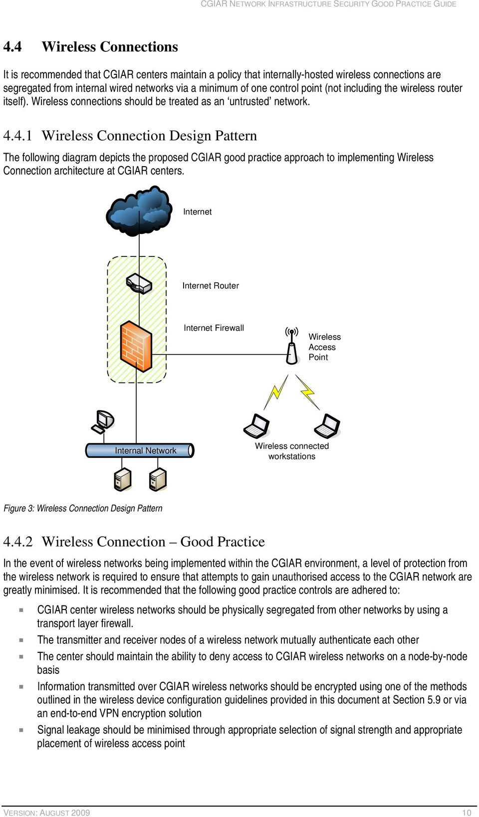 4.1 Wireless Connection Design Pattern The following diagram depicts the proposed CGIAR good practice approach to implementing Wireless Connection architecture at CGIAR centers.