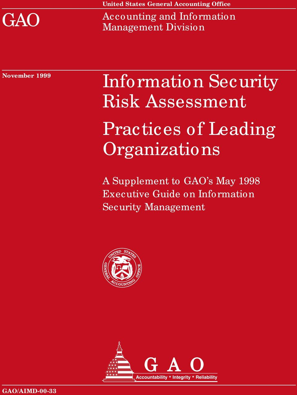 Risk Assessment Practices of Leading Organizations A Supplement to