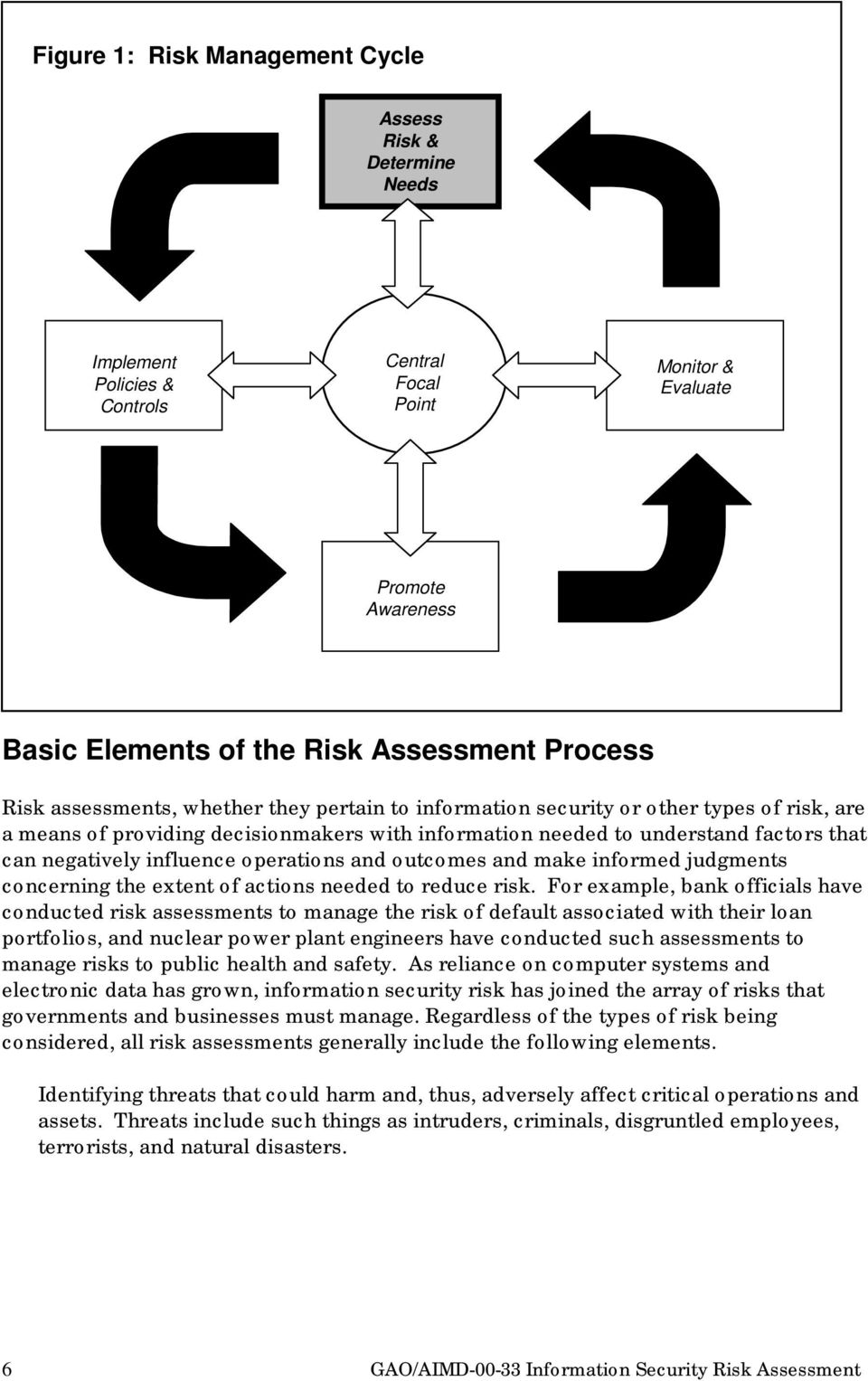 operations and outcomes and make informed judgments concerning the extent of actions needed to reduce risk.