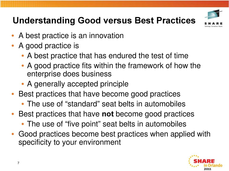 practices that have become good practices The use of standard seat belts in automobiles Best practices that have not become good