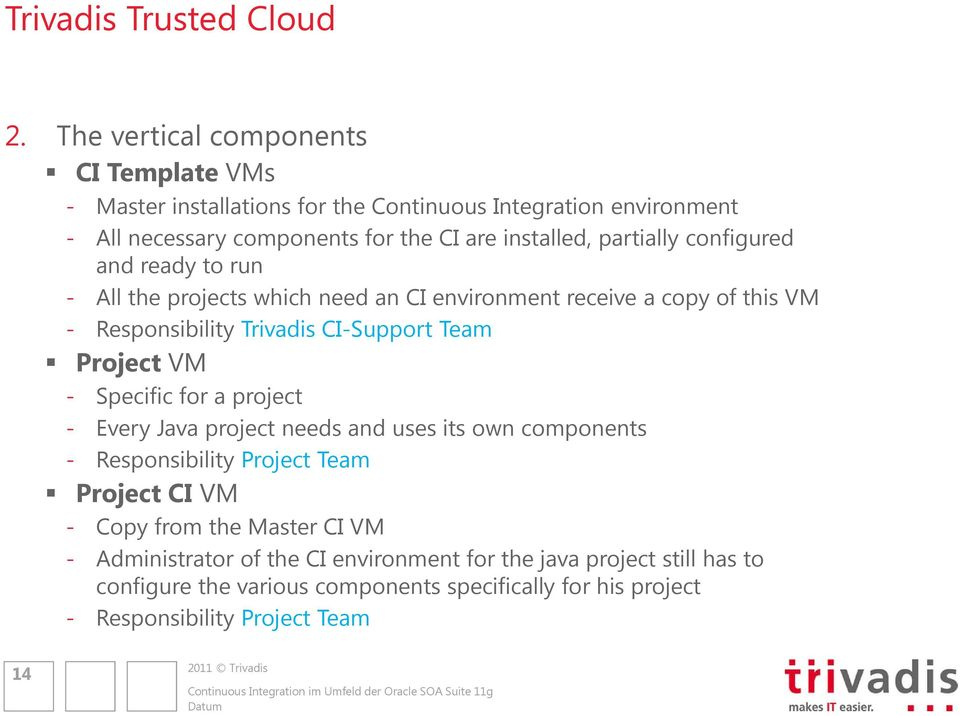 partially configured and ready to run - All the projects which need an CI environment receive a copy of this VM - Responsibility Trivadis CI-Support Team Project VM -