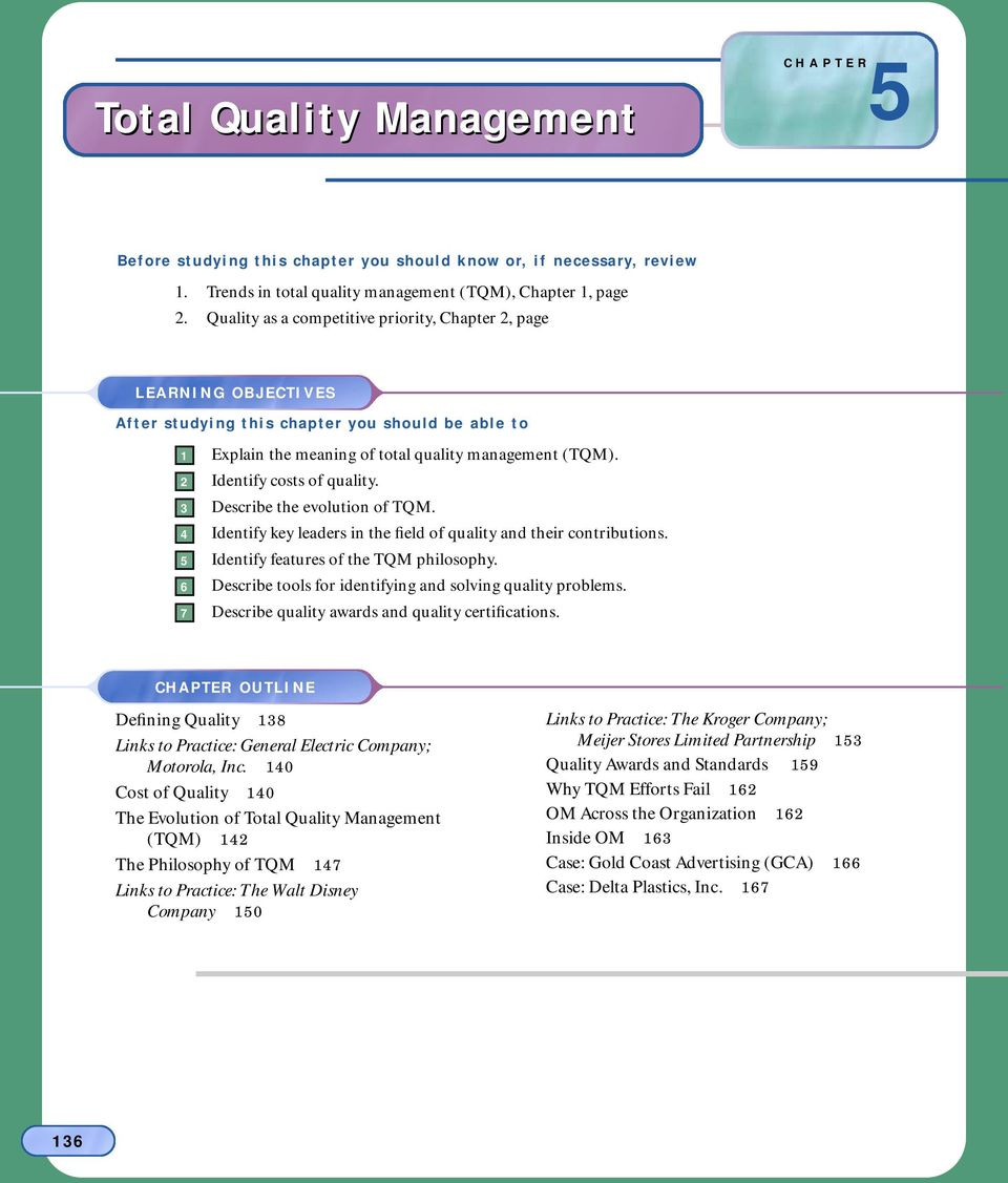 2 Identify costs of quality. 3 Describe the evolution of TQM. 4 Identify key leaders in the field of quality and their contributions. 5 Identify features of the TQM philosophy.