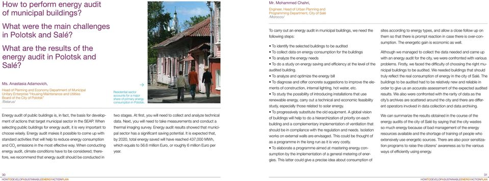 What are the results of the energy audit in Polotsk and Salé? Ms.