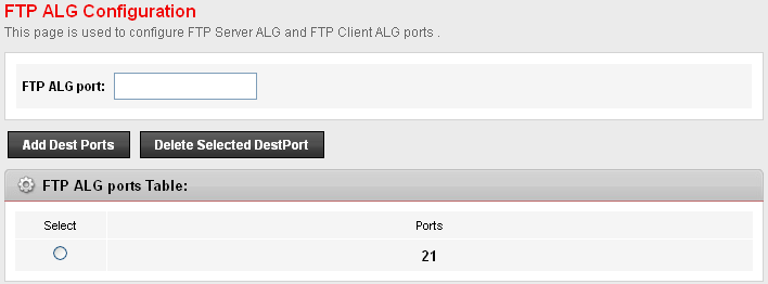 22 FTP ALG Port This page is used to configure FTP Server ALG and FTP Client ALG ports.