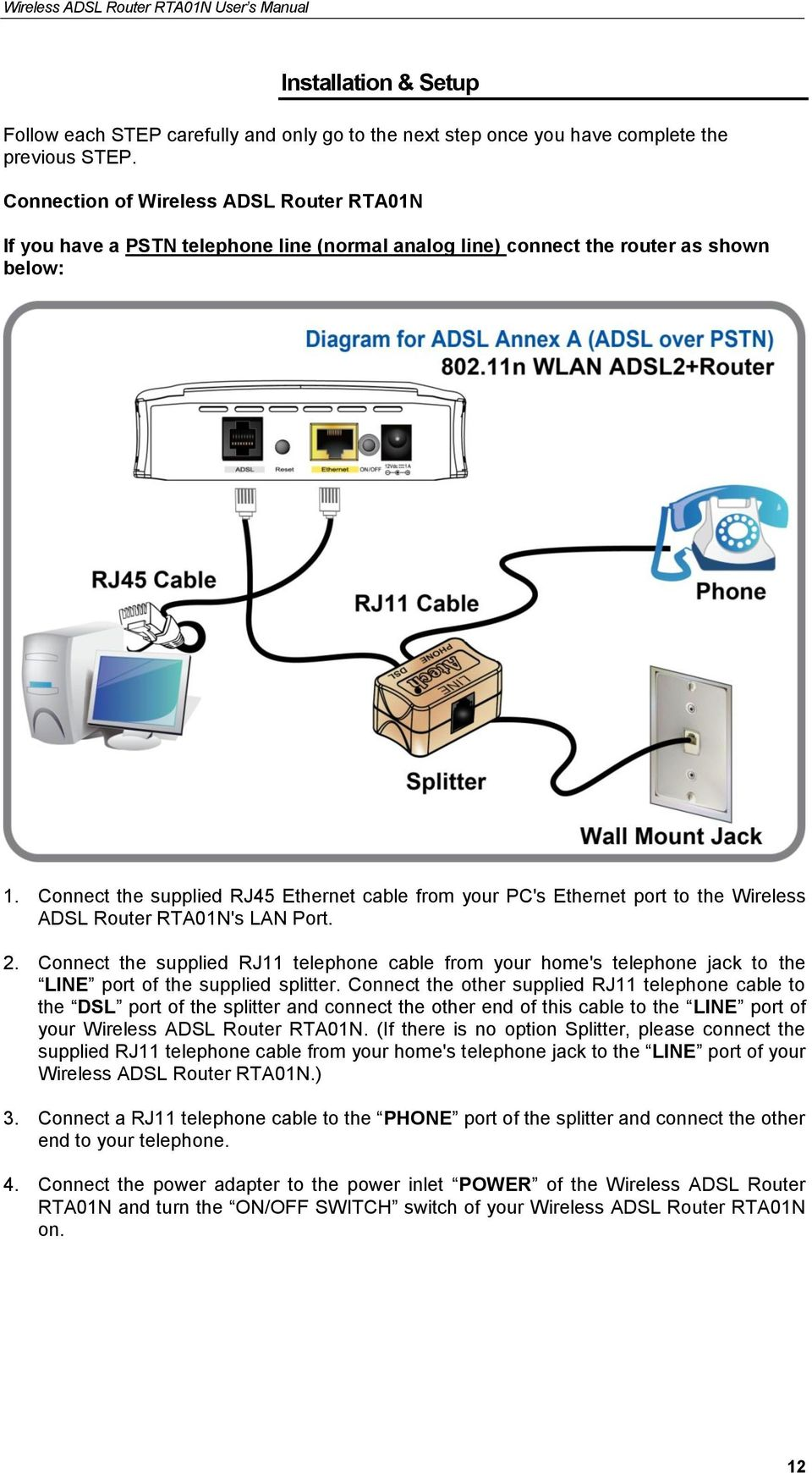 Connect the supplied RJ45 Ethernet cable from your PC's Ethernet port to the Wireless ADSL Router RTA01N's LAN Port. 2.