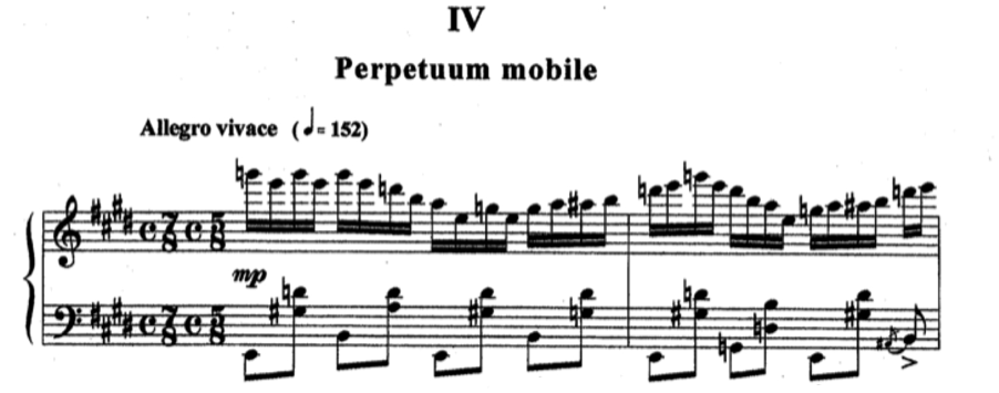 compositional output, even when the words moto perpetuo are not used. In his second sonata, Kapustin entitles the fourth movement Perpetuum mobile (see Figure 26).