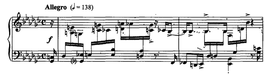 Figure 27. Kapustin, Twenty-Four Preludes, Op. 53, XIV, mm.1-2 36 Figure 28. Kapustin, Three Impromptus, Op. 66, No.
