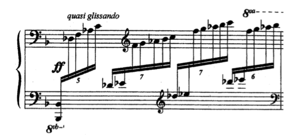 This example in Etude V from Op. 68 demonstrates another favorite compositional device of Kapustin: use of the entire range of the keyboard.