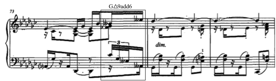 Figure 47. Kapustin, Bagatelle II, m.21; with enharmonic respelling Figure 48. Liszt, Valse Oubliée No. 1, S. 115, mm.