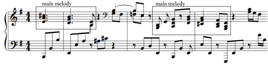 The first half, as seen in Figure 59, presents a theme in the left hand in D major, with syncopated figures in the right hand.