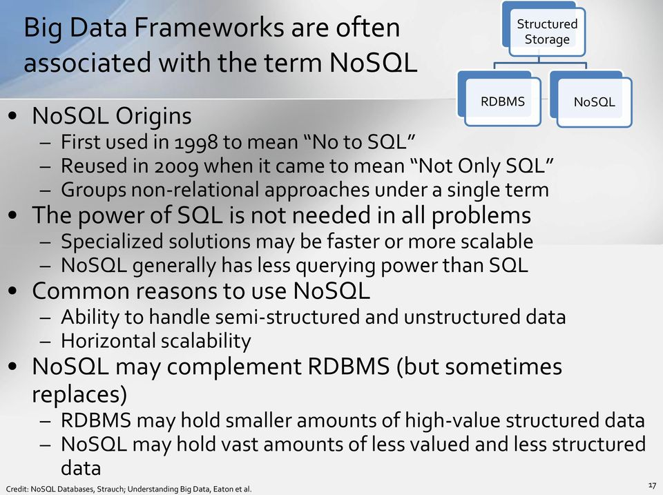 than SQL Common reasons to use NoSQL Ability to handle semi-structured and unstructured data Horizontal scalability NoSQL may complement RDBMS (but sometimes replaces) RDBMS may hold