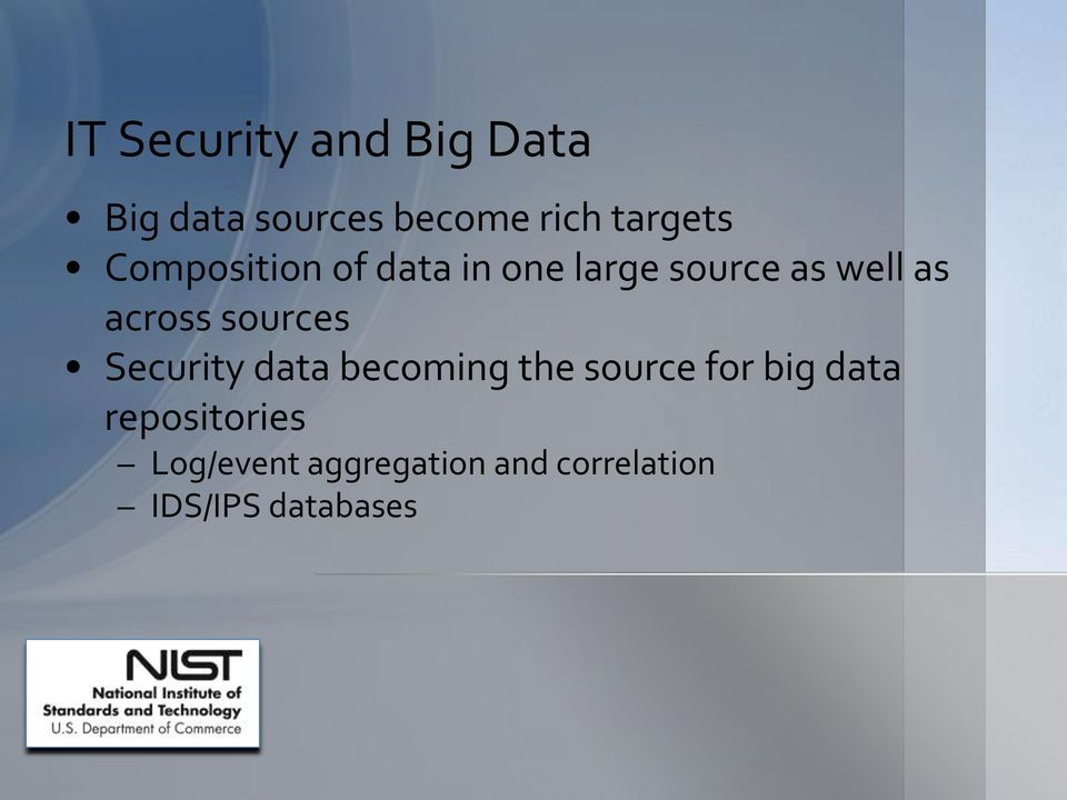 across sources Security data becoming the source for big