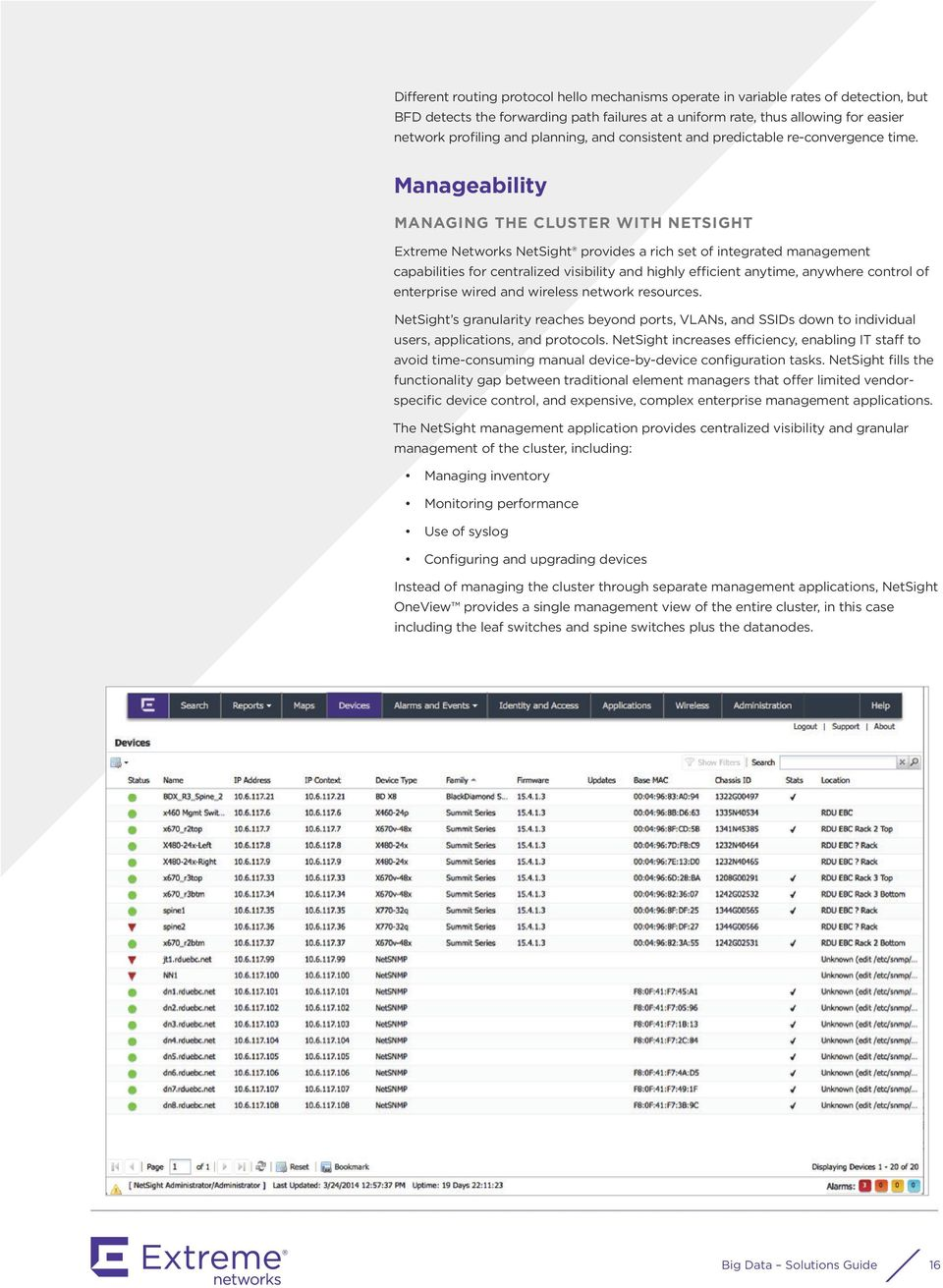 Manageability MANAGING THE CLUSTER WITH NETSIGHT Extreme Networks NetSight provides a rich set of integrated management capabilities for centralized visibility and highly efficient anytime, anywhere