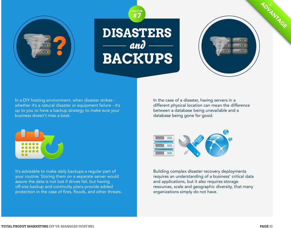 In the case of a disaster, having servers in a different physical location can mean the difference between a database being unavailable and a database being gone for good.