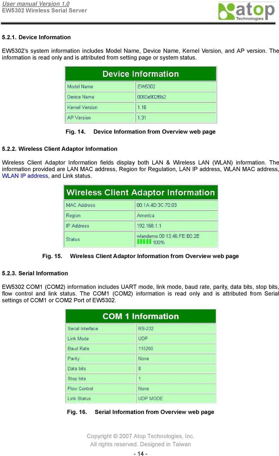 2. Wireless Client Adaptor Information Wireless Client Adaptor Information fields display both LAN & Wireless LAN (WLAN) information.