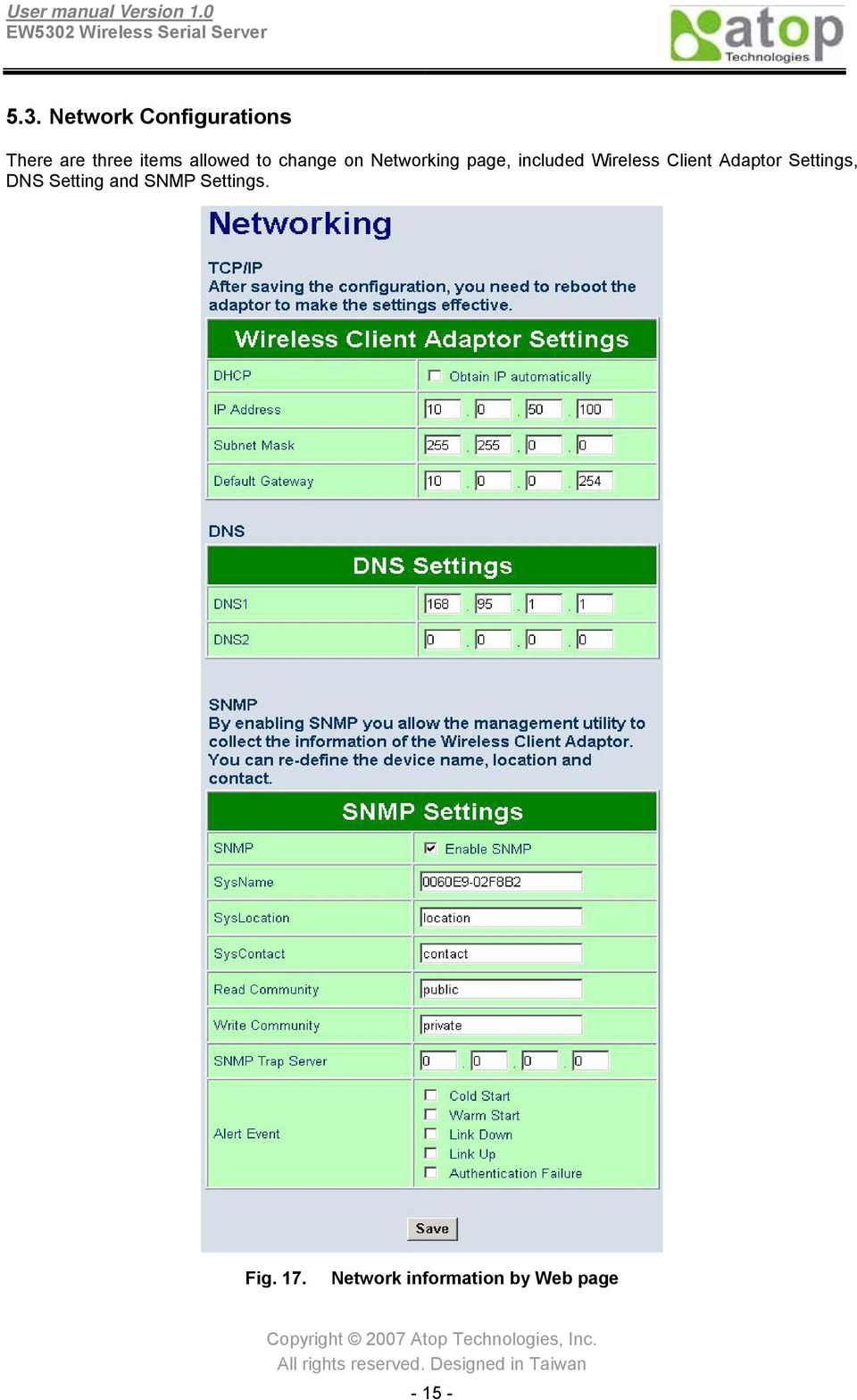 Wireless Client Adaptor Settings, DNS Setting and