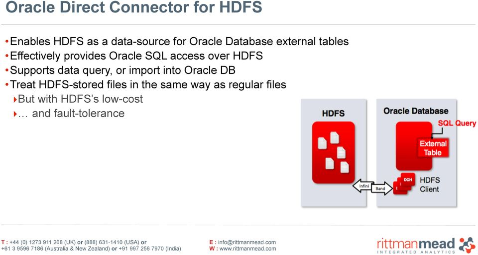 Supports data query, or import into Oracle DB Treat HDFS-stored files in