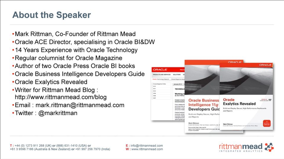 Oracle Press Oracle BI books Oracle Business Intelligence Developers Guide Oracle Exalytics Revealed