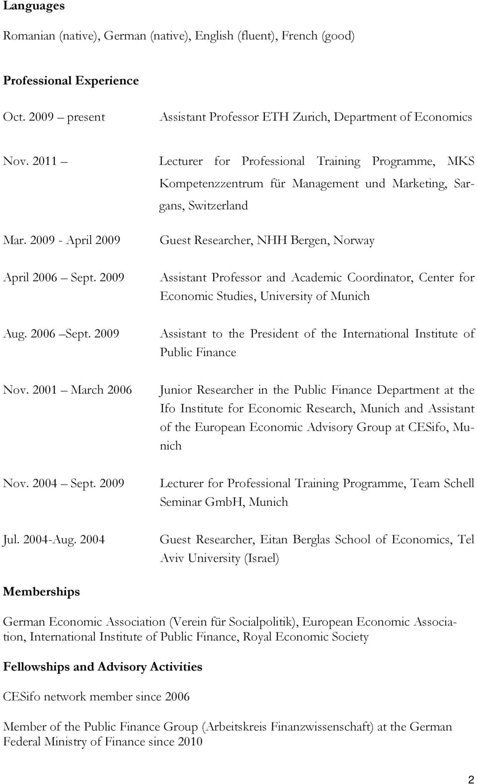 2004 Lecturer for Professional Training Programme, MKS Kompetenzzentrum für Management und Marketing, Sargans, Switzerland Guest Researcher, NHH Bergen, Norway Assistant Professor and Academic