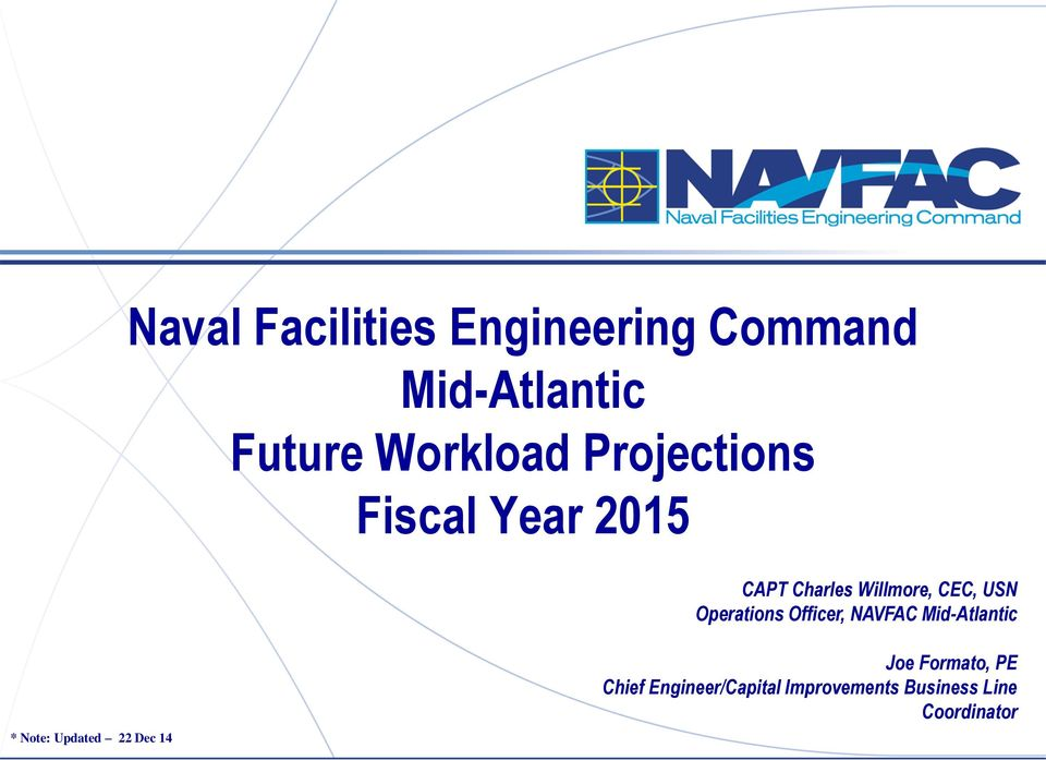 Operations Officer, NAVFAC Mid-Atlantic * Note: Updated 22 Dec 14