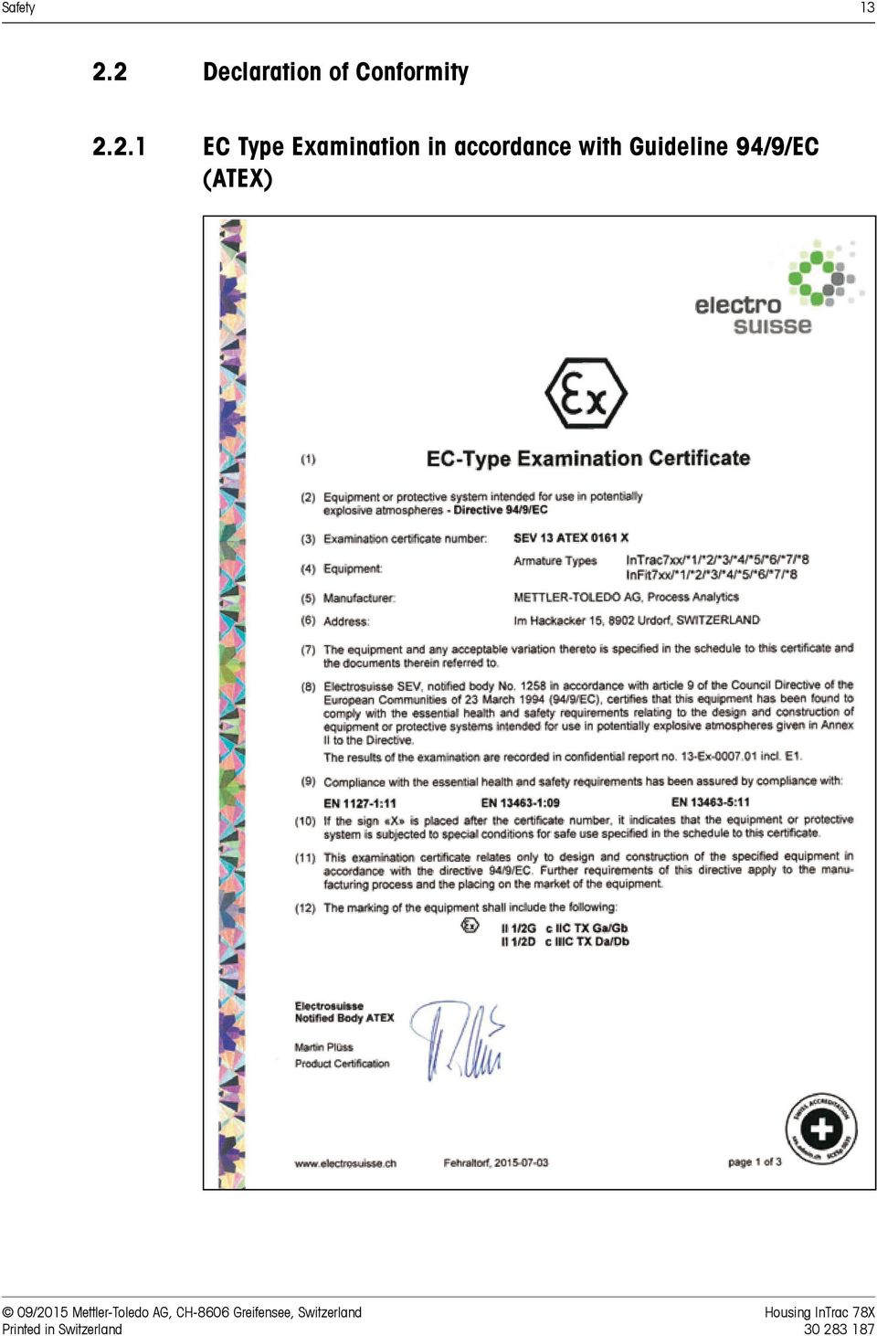 in accordance with Guideline 94/9/EC (ATEX) 09/2015